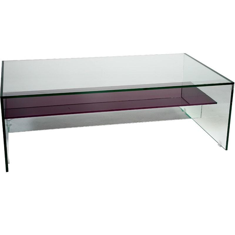 Helderr Beljo Glass Coffee Table With Coloured Shelf