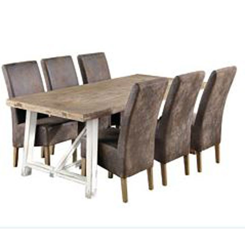 Nordica Dining Chair Faux Rustic Leather : Rustictablewhitelegsand4brownchairs1 from www.furnitureaddiction.co.uk size 800 x 800 jpeg 54kB
