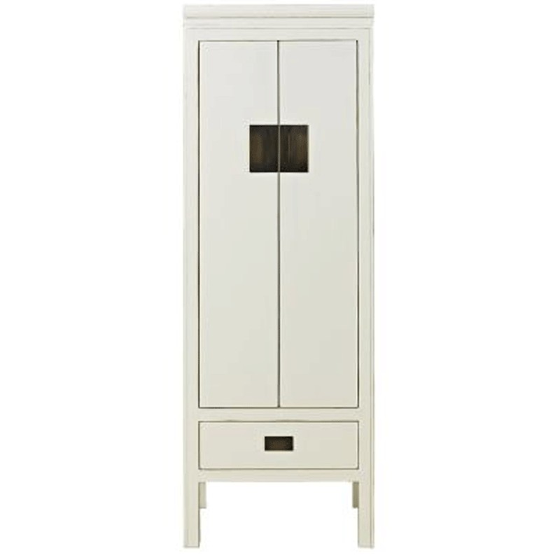 Oriental Narrow Storage Cabinet Distressed Lacquer White