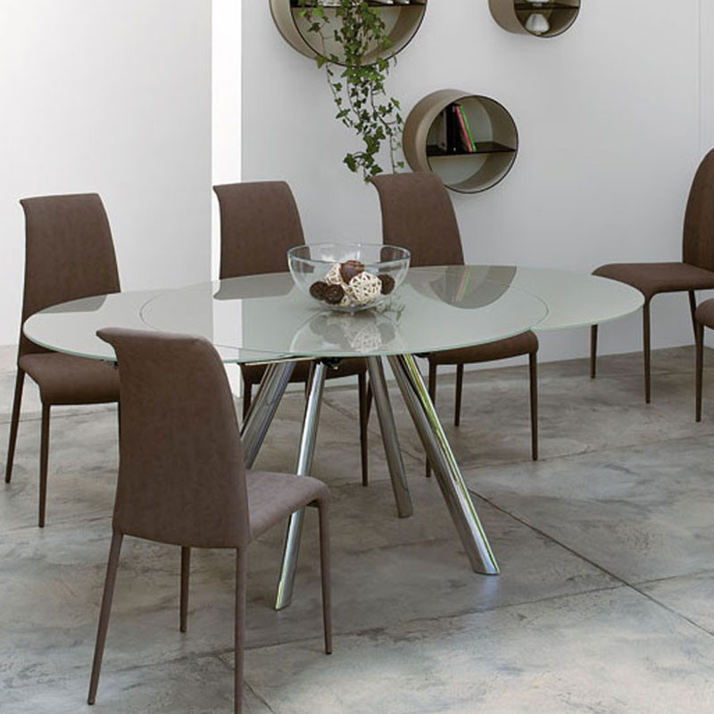 Peressini myles extending glass dining table for Extendable glass dining table