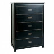 Oriental Tall Chest 5 Drawers Distressed Lacquer