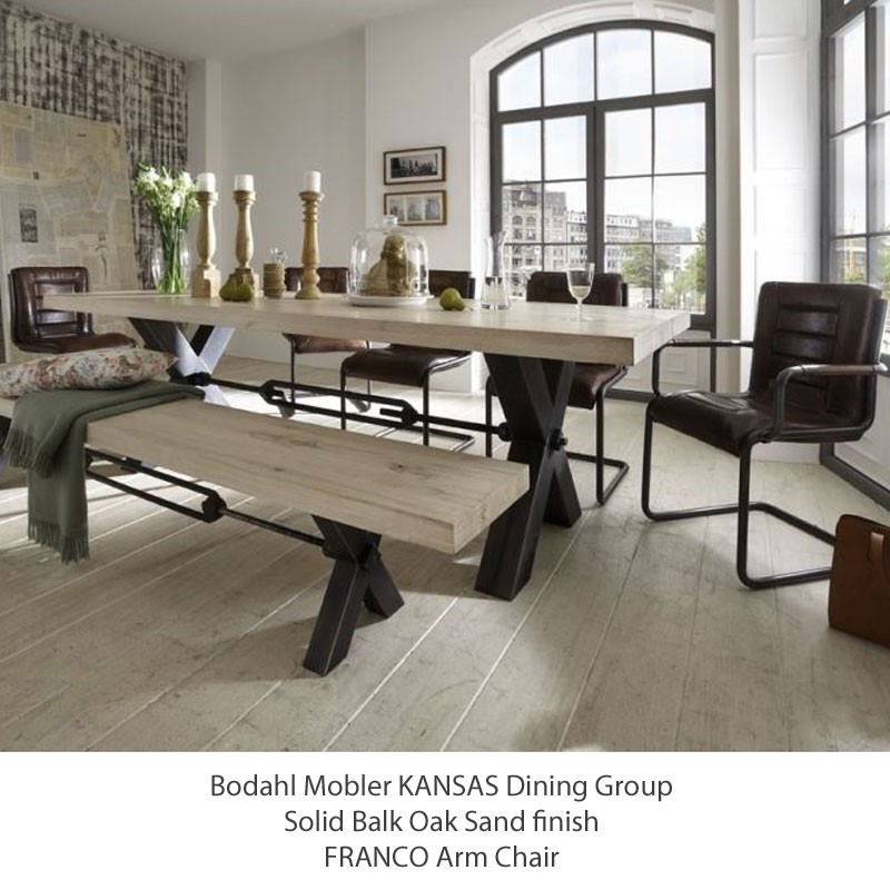 Bodahl Mobler KANSAS Dining Table Optional Benches SOLID Balk Oak 7 Sizes