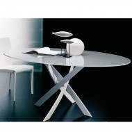 bontempi casa barone oval glass top dining table
