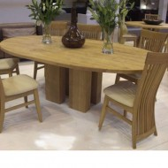column solid oak dining table