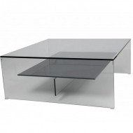 helderr beljo glass square coffee table with coloured shelf