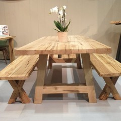 loft collection solid aged and weathered oak - benches available