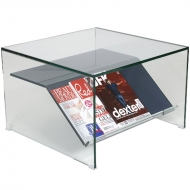 helderr beljo coloured glass square coffee table with book shelf