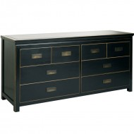 oriental black lacquered 8 drawer chest
